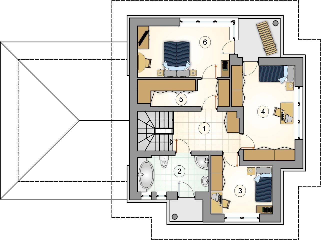 Rzut piętra - projekt Figaro - wersja lustrzana
