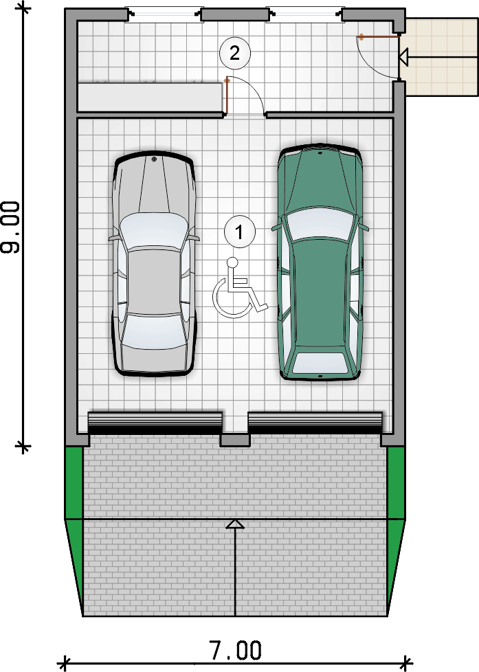 rzut garażu - Garaż Z 38