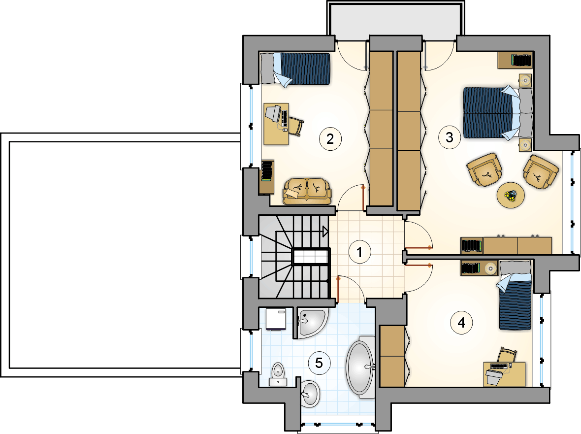 Rzut piętra - projekt Beta - wersja lustrzana