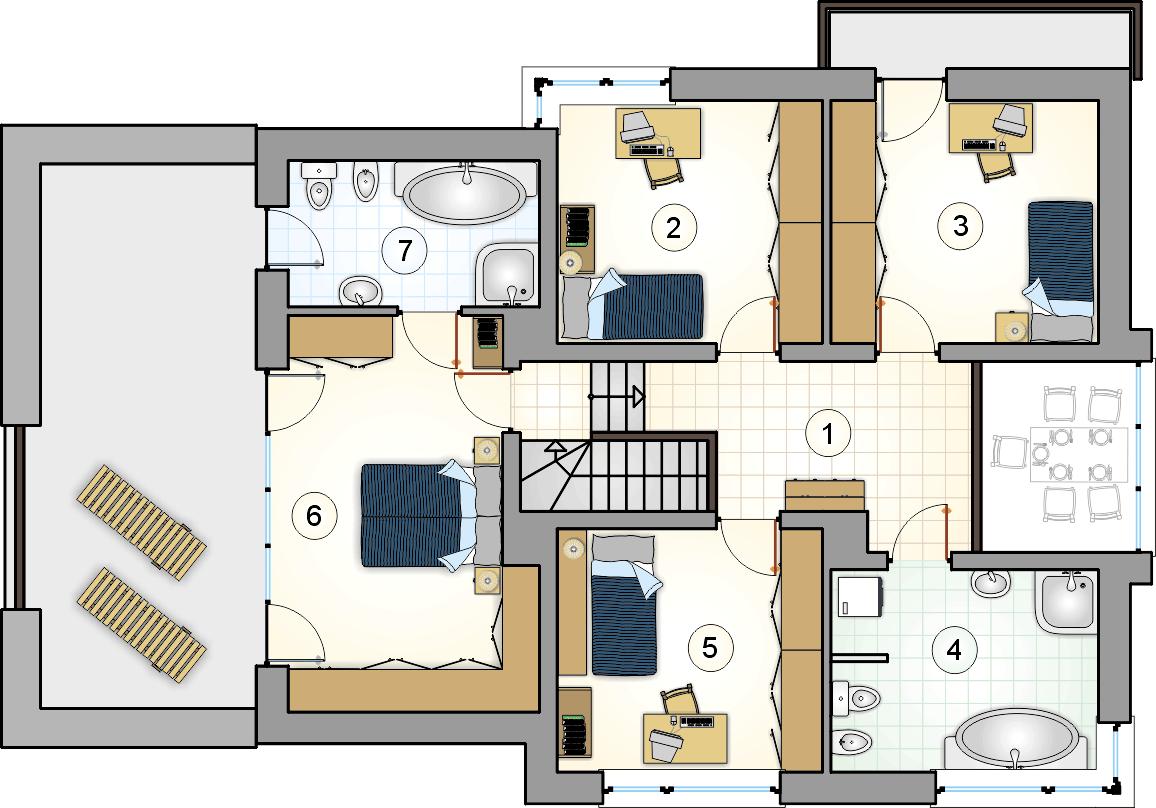 Rzut piętra - projekt Cynamon