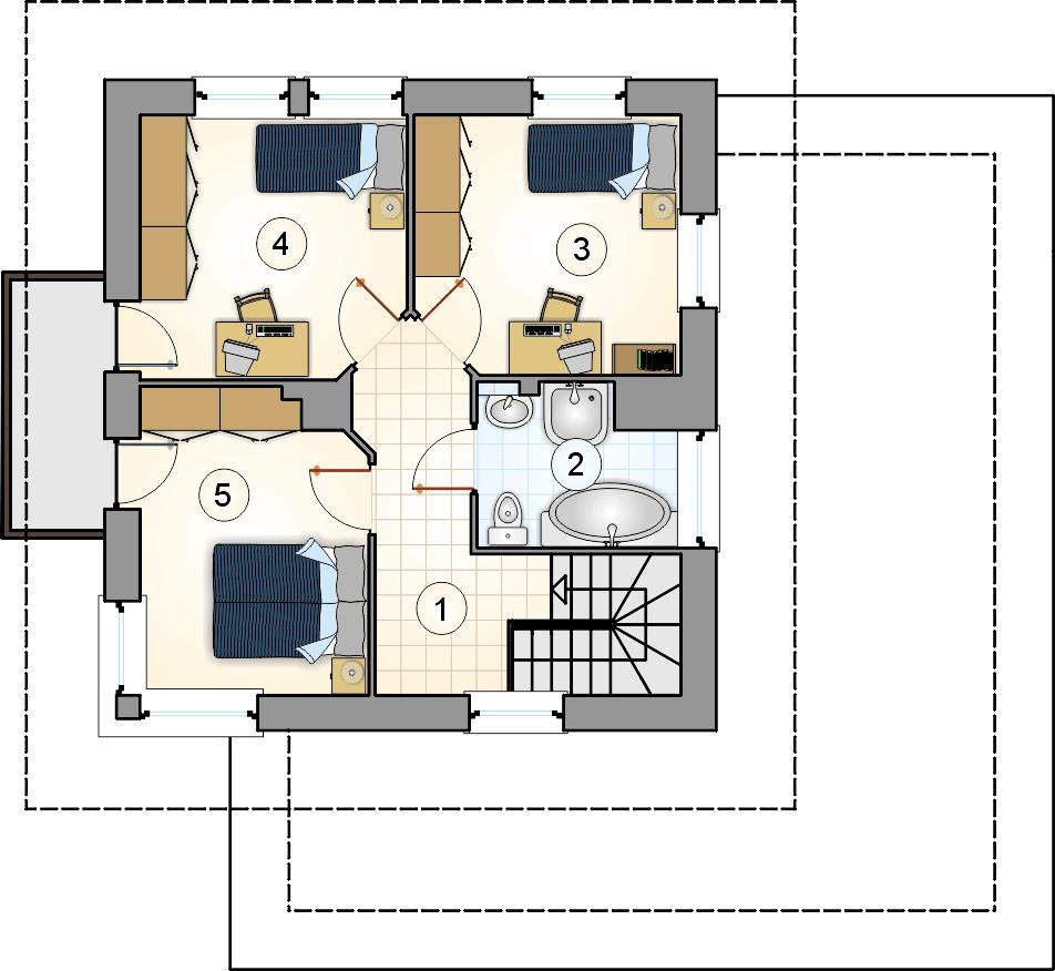 Rzut piętra - projekt Siena - wersja lustrzana