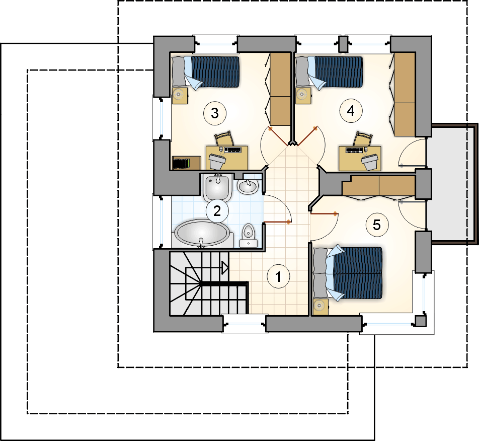 Rzut piętra - projekt Siena