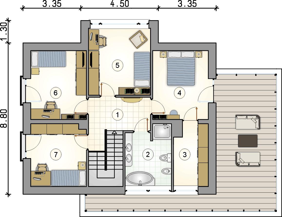 rzut piętra - projekt Qubus II - wersja lustrzana