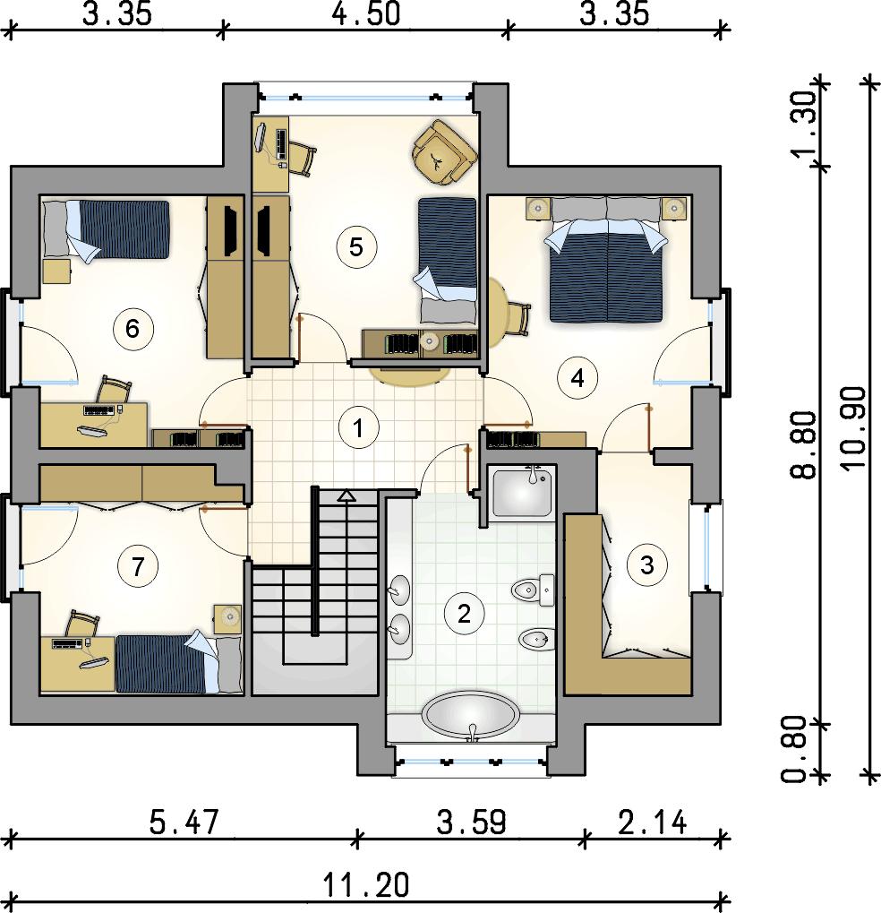 Rzut piętra - projekt Qubus - wersja lustrzana