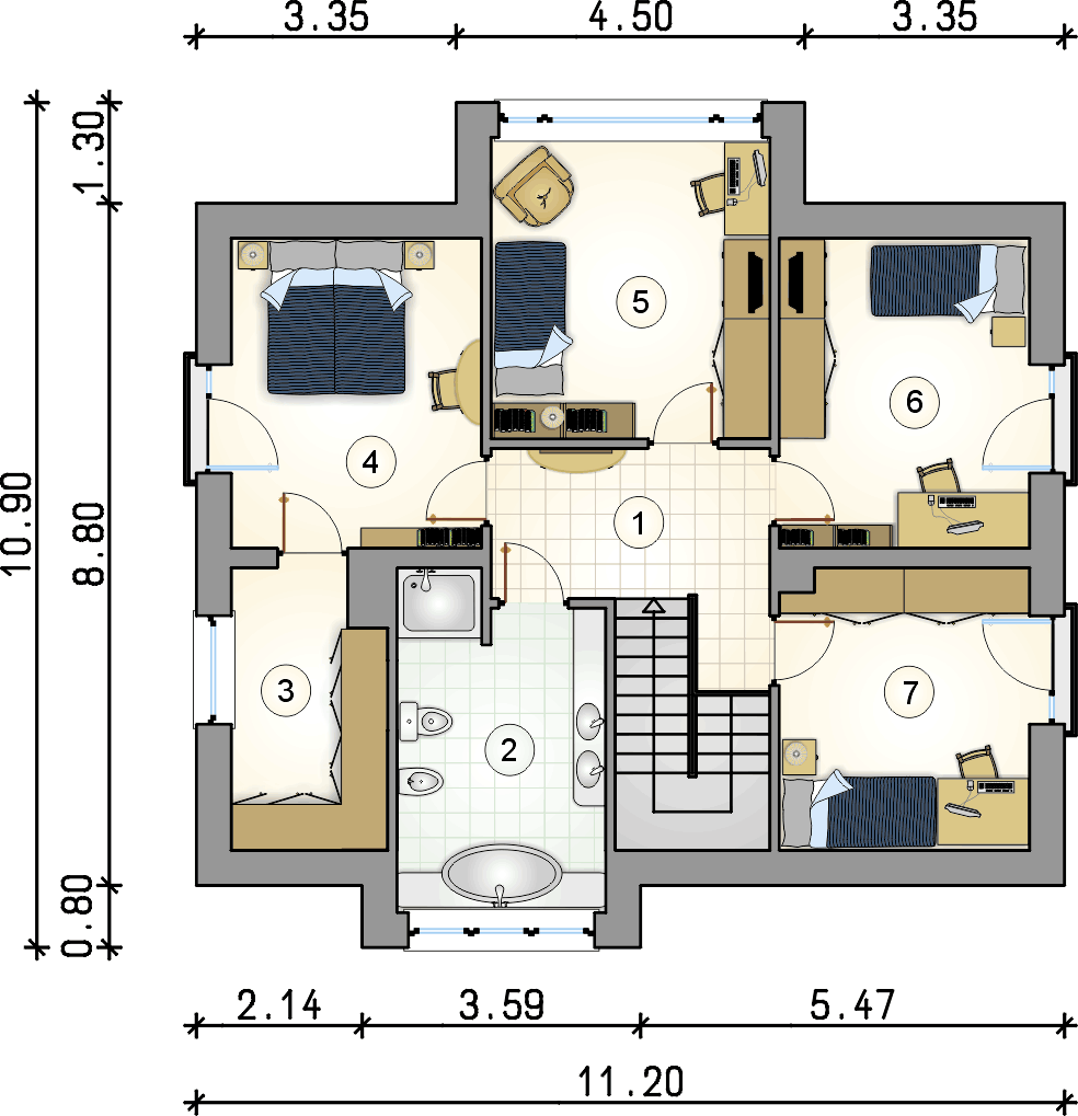 Rzut piętra - projekt Qubus