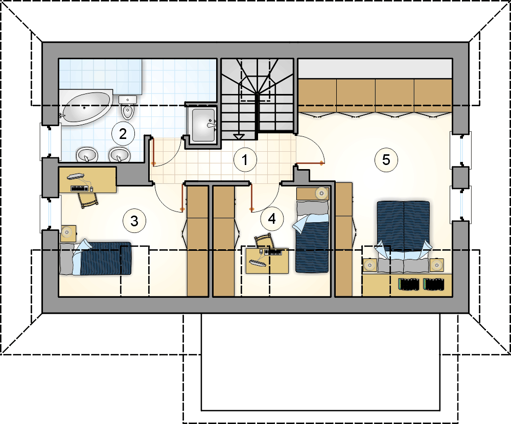 Rzut poddasza - projekt Dom Bacy