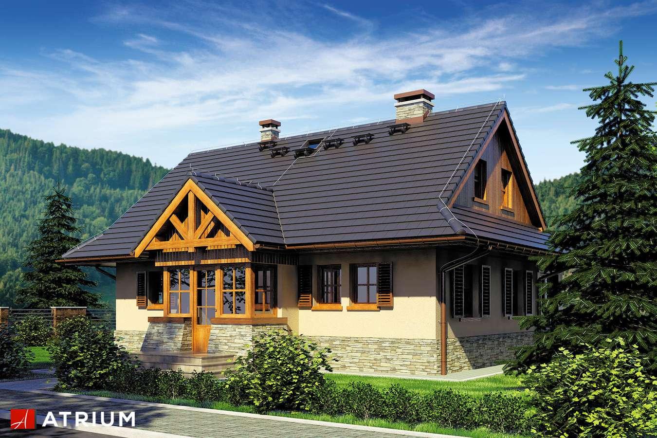 Projekty domów - Projekt domu z poddaszem MARZANKA - wizualizacja 1 - wersja lustrzana
