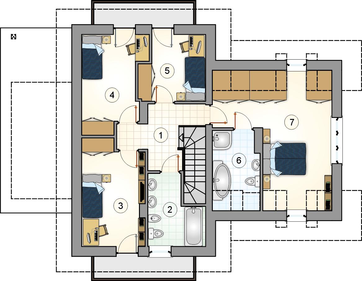 Rzut piętra - projekt Bukowa Chata