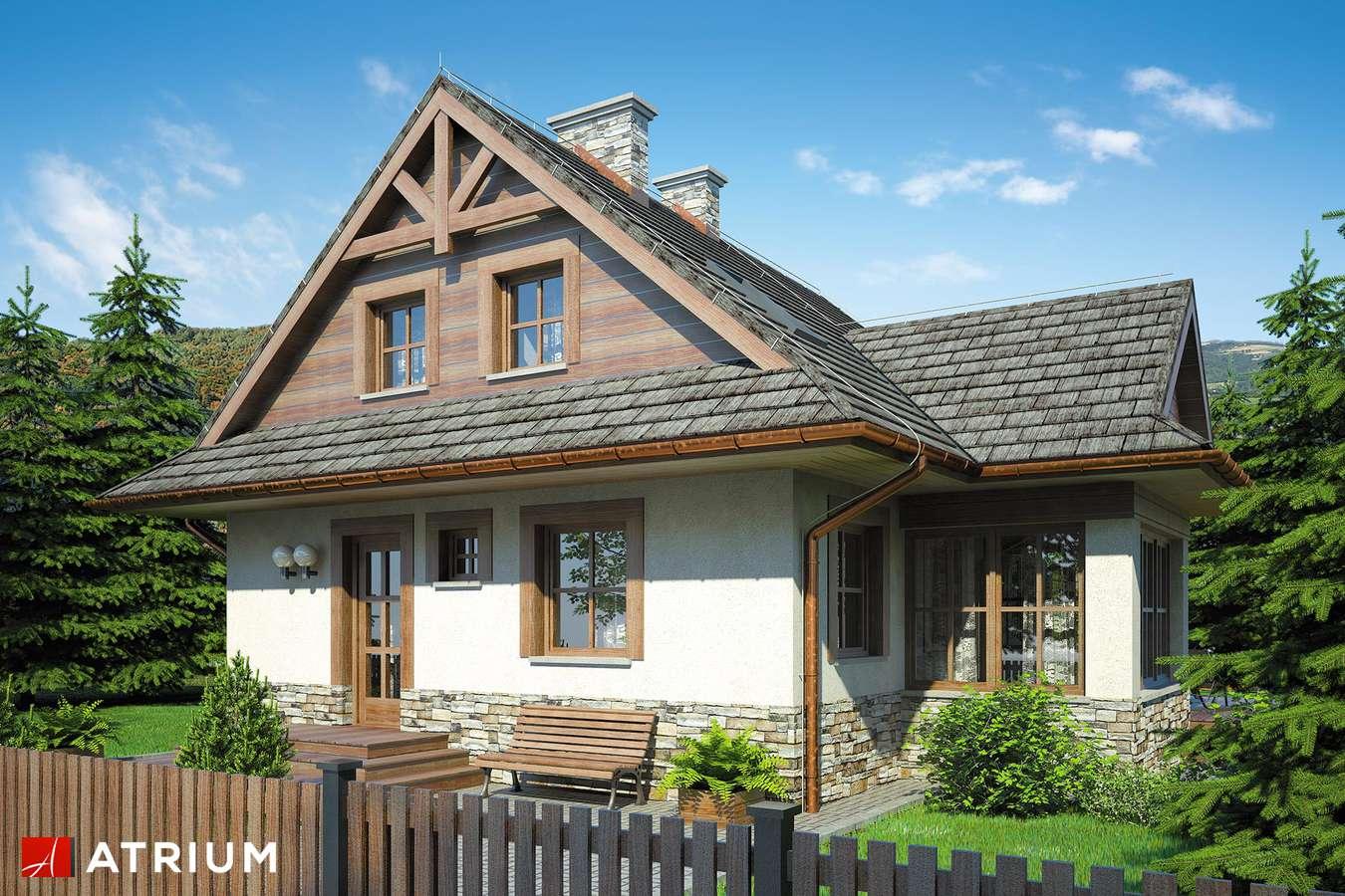 Projekty domów - Projekt domu z poddaszem MALINOWA CHATA - wizualizacja 1 - wersja lustrzana
