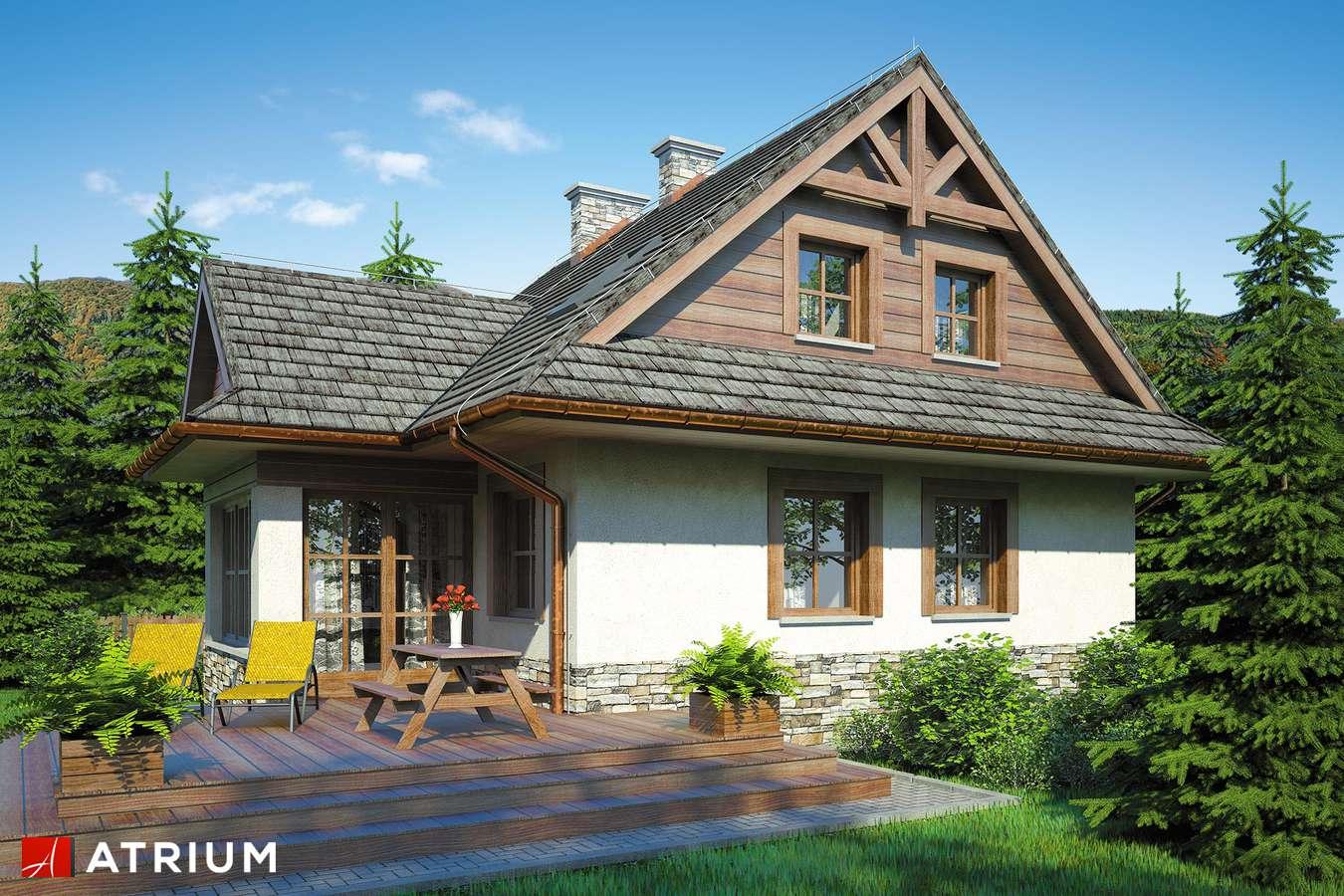 Projekty domów - Projekt domu z poddaszem MALINOWA CHATA - wizualizacja 2 - wersja lustrzana