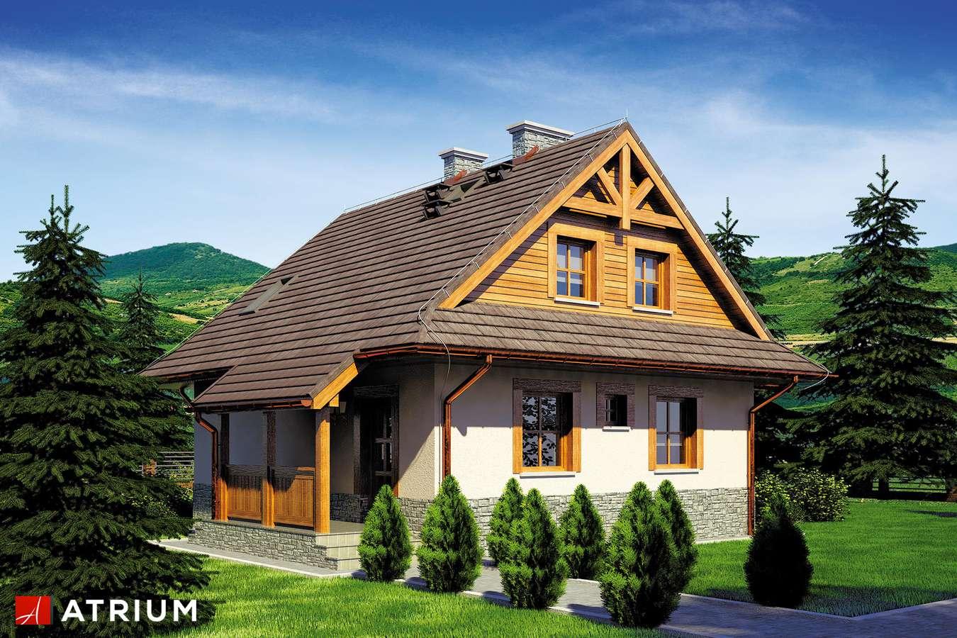 Projekty domów - Projekt domu z poddaszem CHATA POD JAWOREM - wizualizacja 1 - wersja lustrzana
