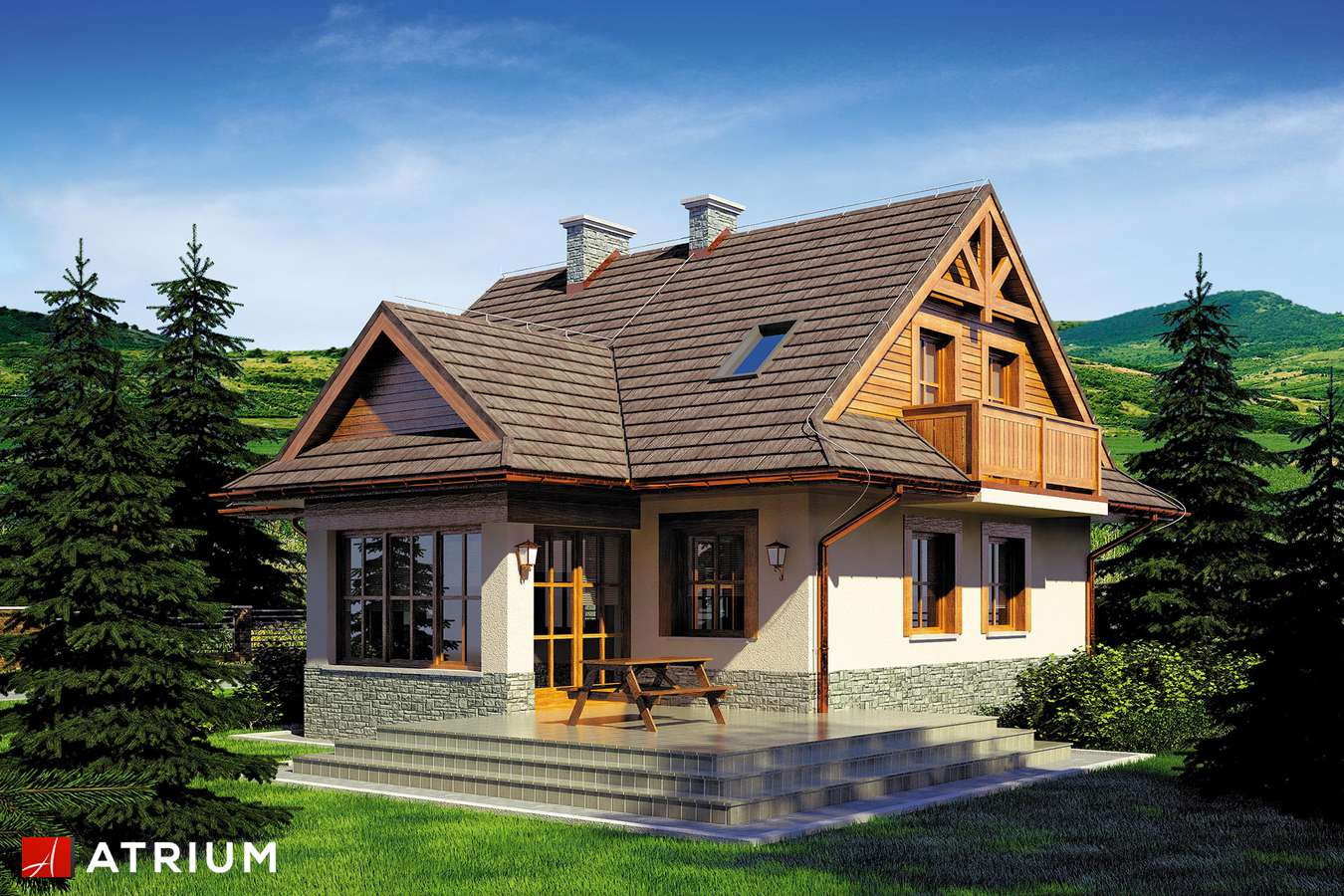 Projekty domów - Projekt domu z poddaszem CHATA POD JAWOREM - wizualizacja 2 - wersja lustrzana