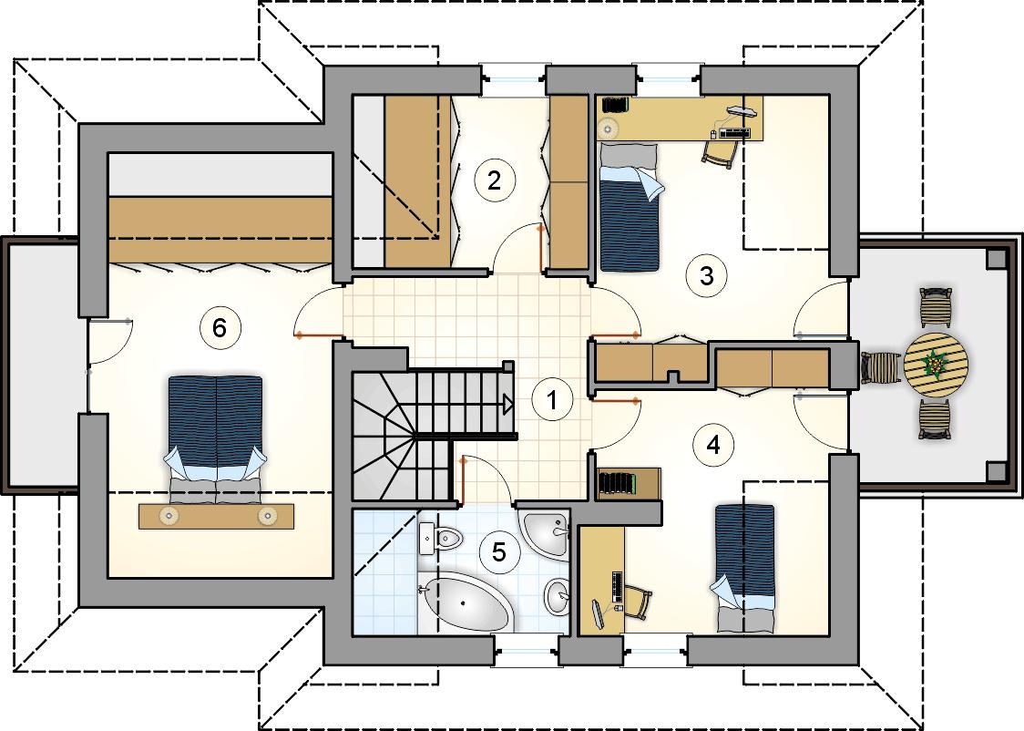 Rzut poddasza - projekt Smrek II - wersja lustrzana