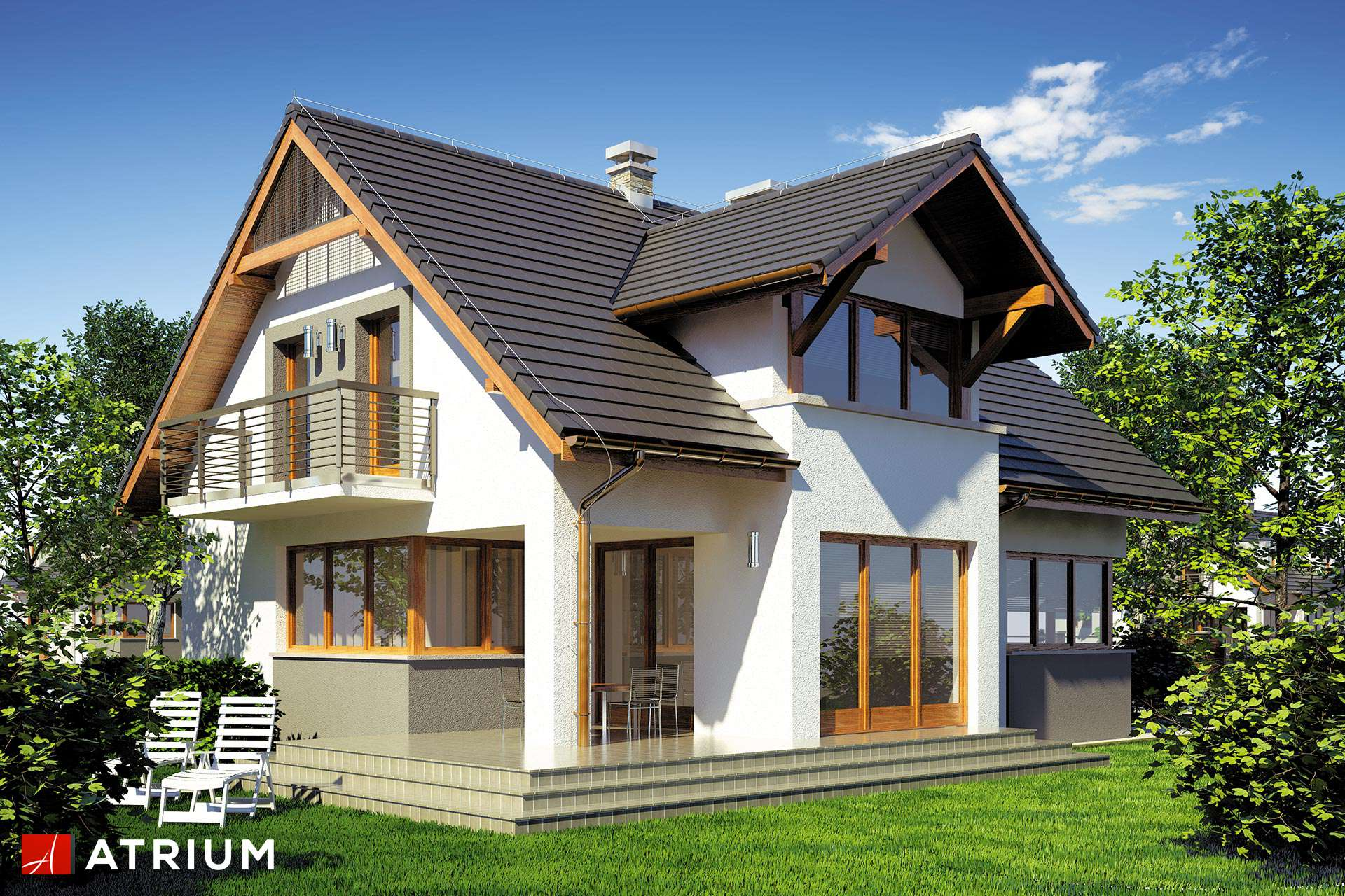Anna parterowy dom z poddaszem u ytkowym i gara em z 4 for Case di legno romania