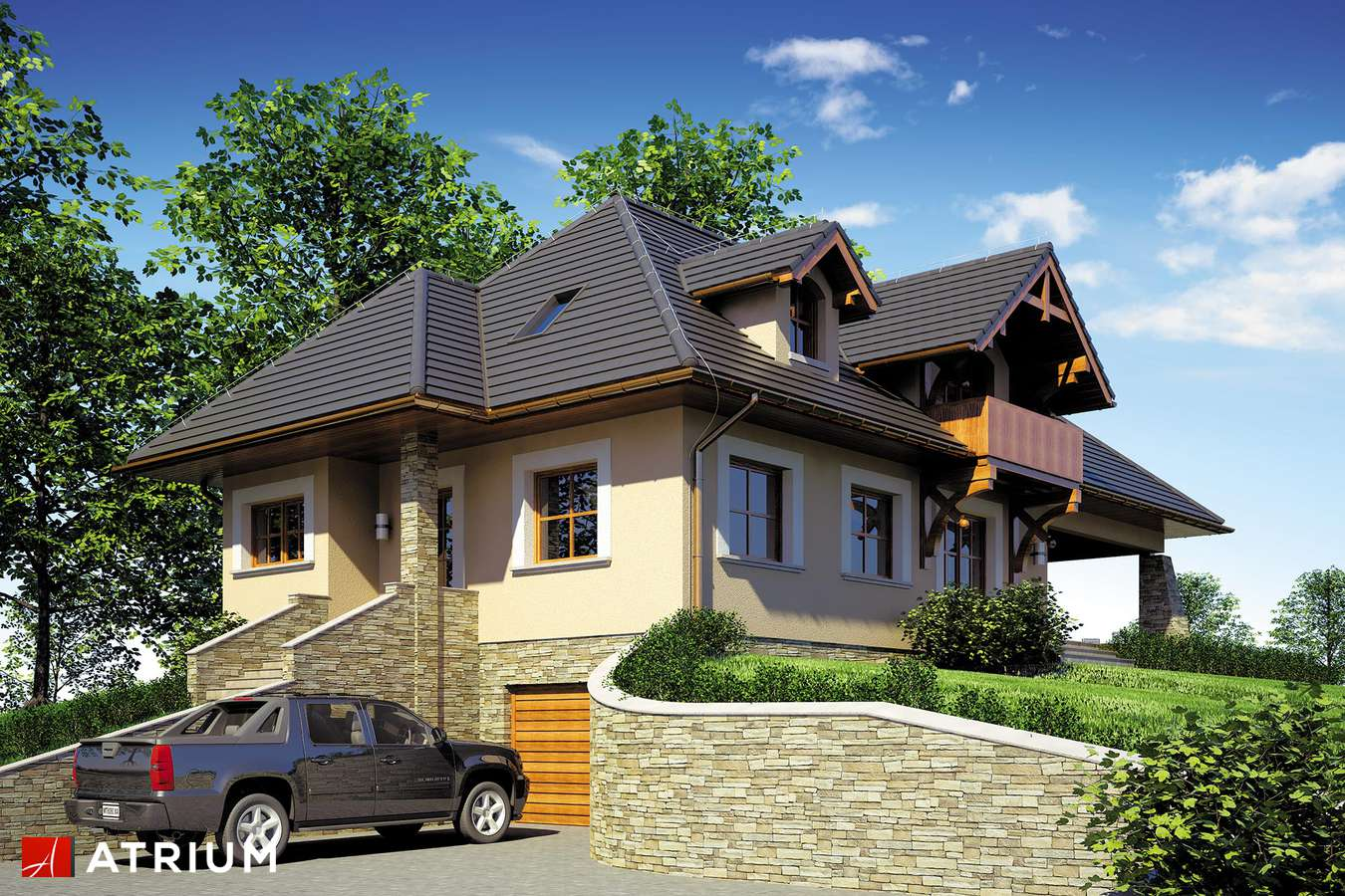 Projekty domów - Projekt domu z poddaszem TEDDY - wizualizacja 1