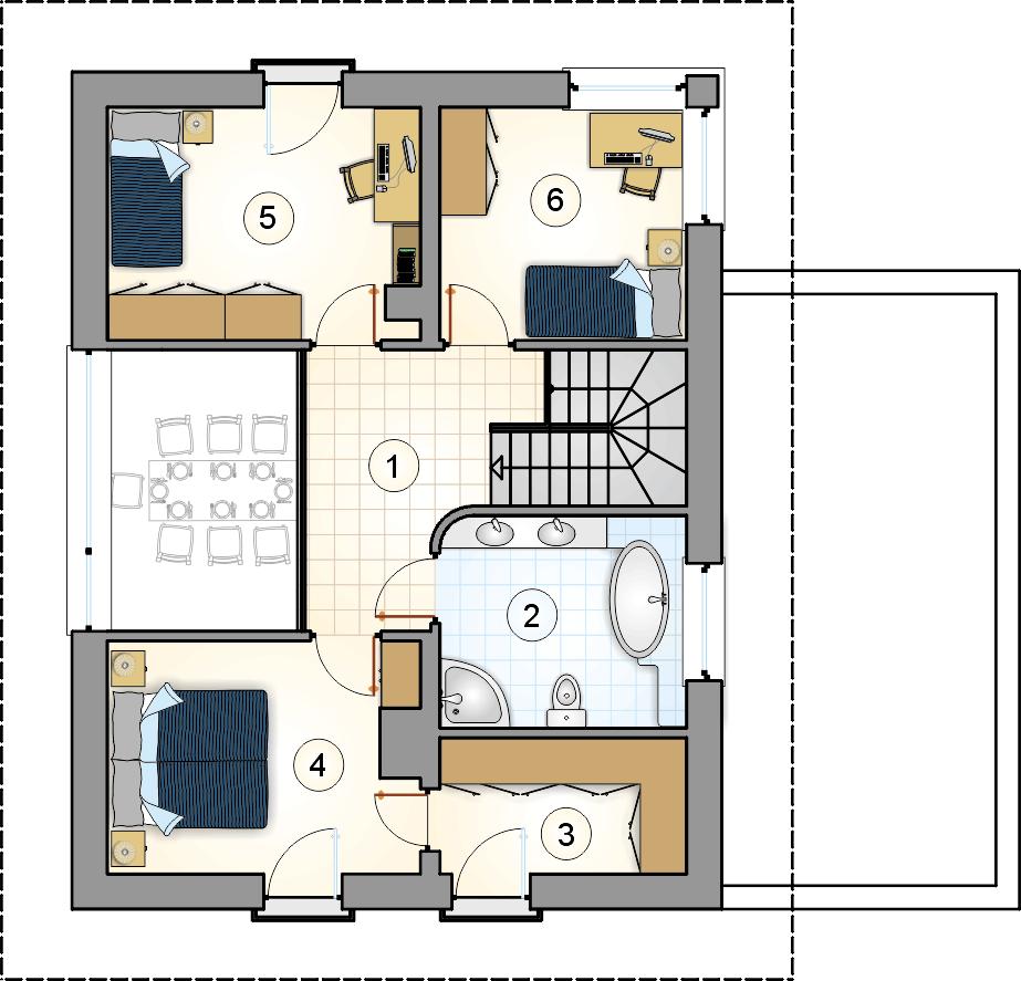 Rzut piętra - projekt Milano II