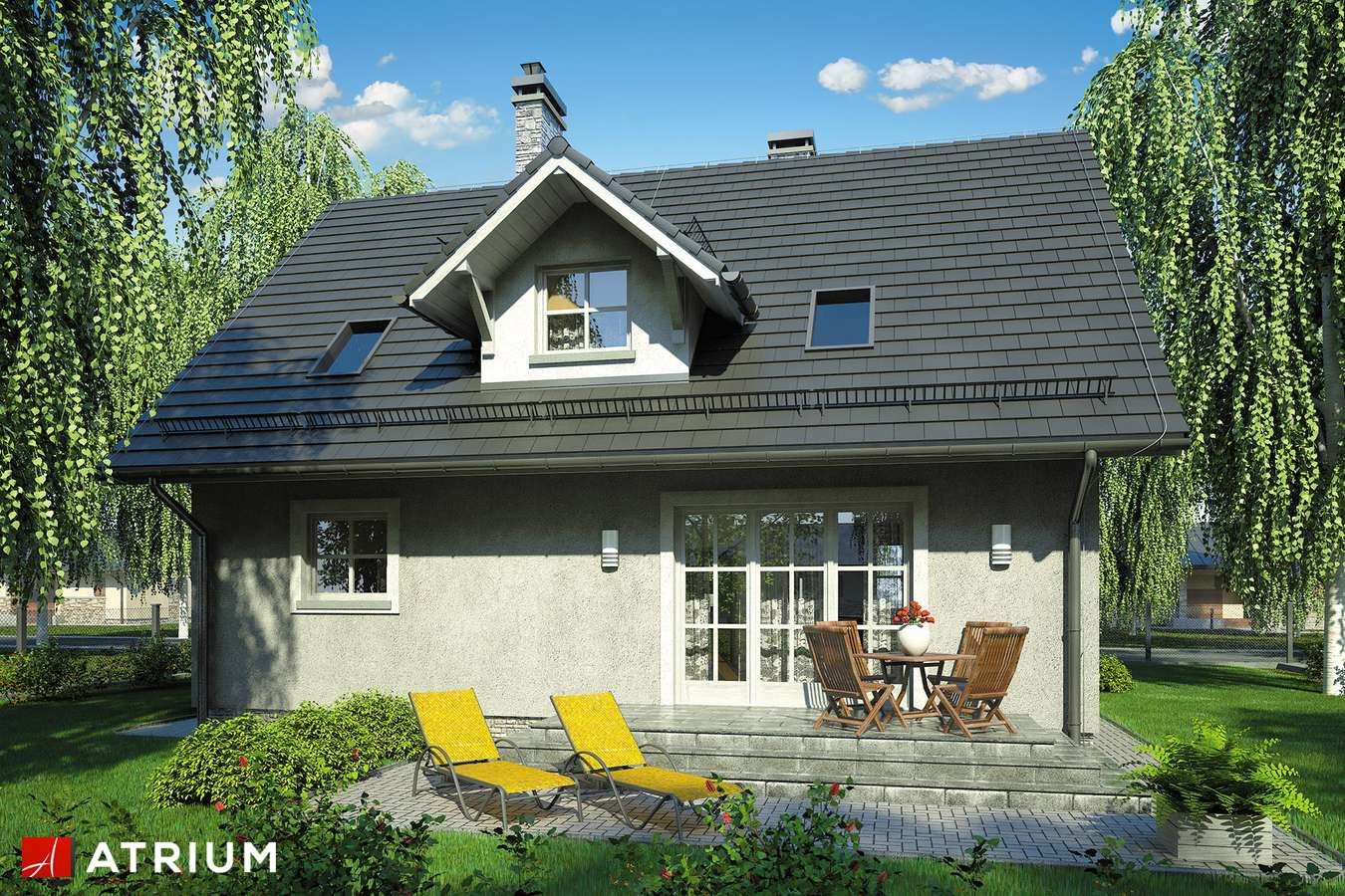 Projekty domów - Projekt domu z poddaszem COMPACT HOUSE - wizualizacja 2 - wersja lustrzana