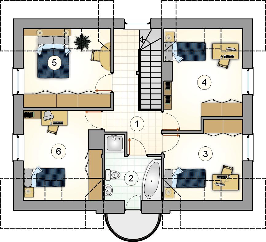 Rzut poddasza - projekt Compact House - wersja lustrzana
