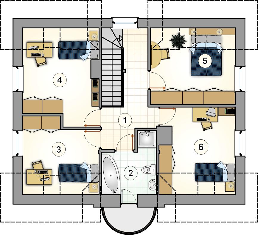Rzut poddasza - projekt Compact House