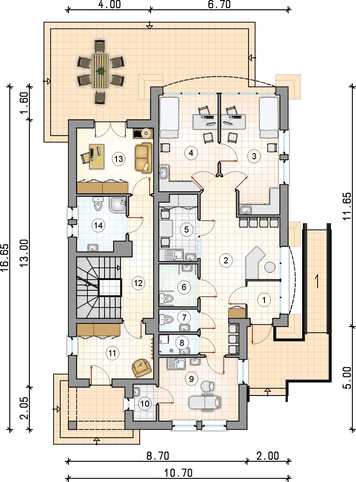 Rzut parteru - projekt Villa Medica II