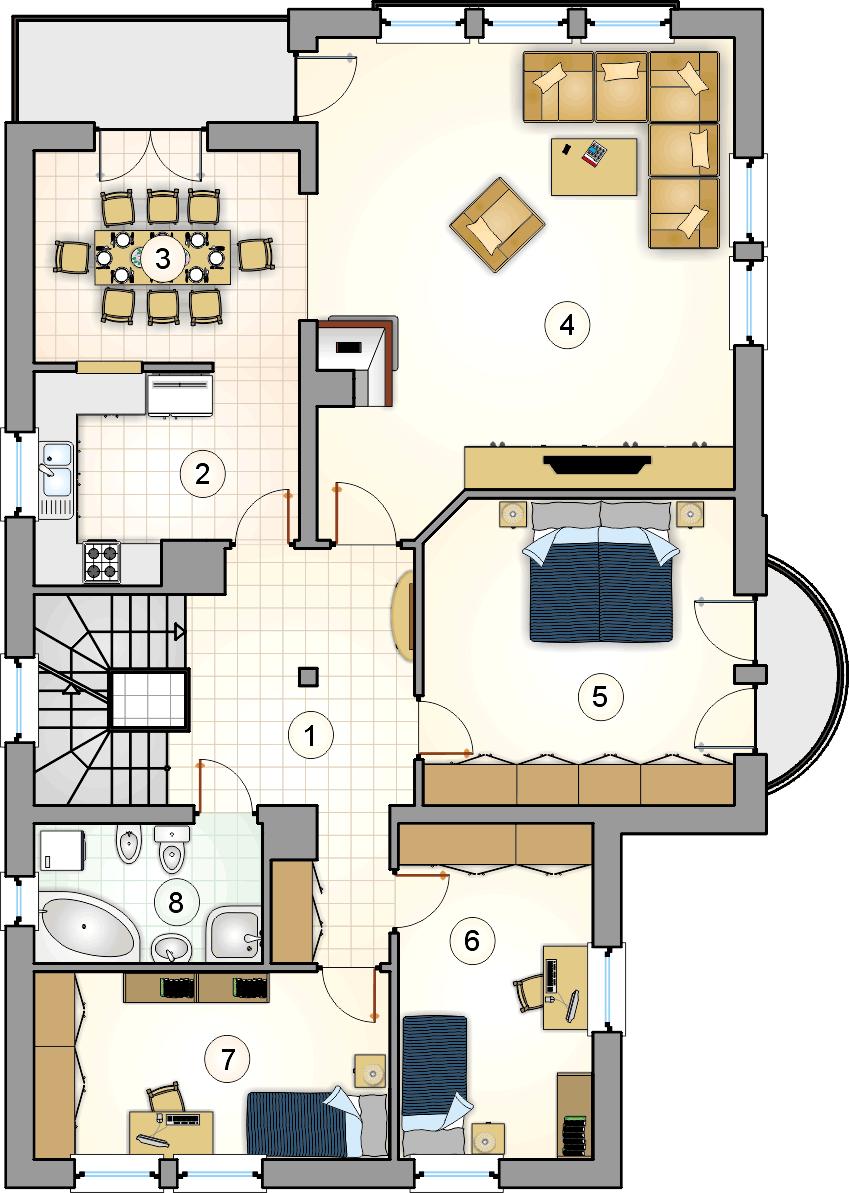Rzut piętra - projekt Villa Medica II