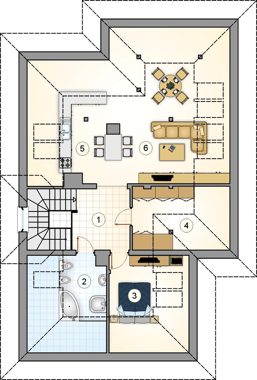 Rzut poddasza - projekt Villa Medica II