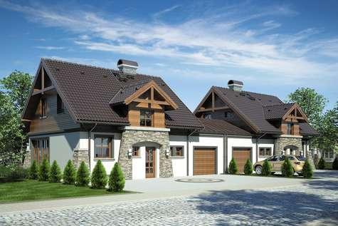 Projekt domu z poddaszem PORTO DUO - wizualizacja 1