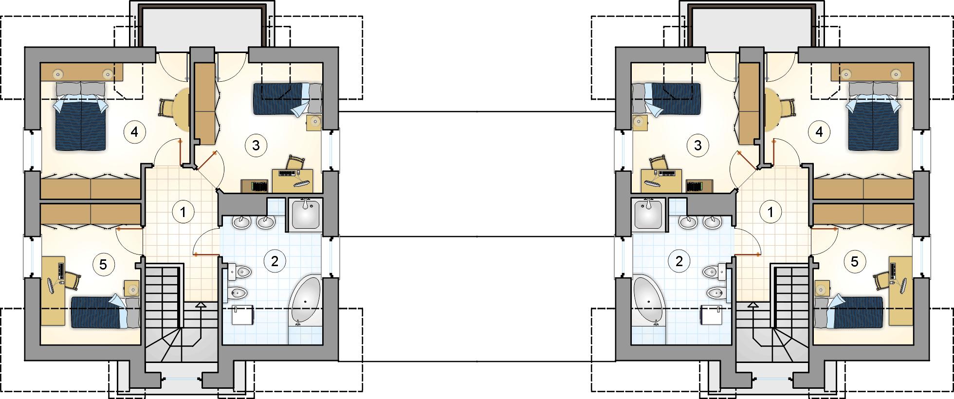 Rzut poddasza - projekt Porto Duo
