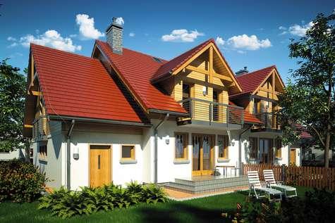 Projekt domu z poddaszem FOKSTROT DUO II - wizualizacja 2