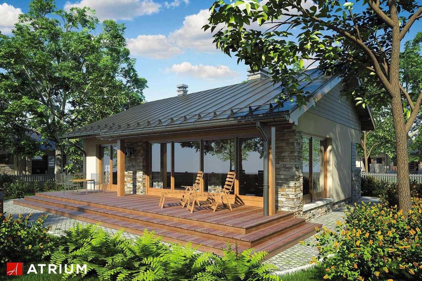 Projekty domów - Projekt domu parterowego RICARDO - wizualizacja 1 - wersja lustrzana