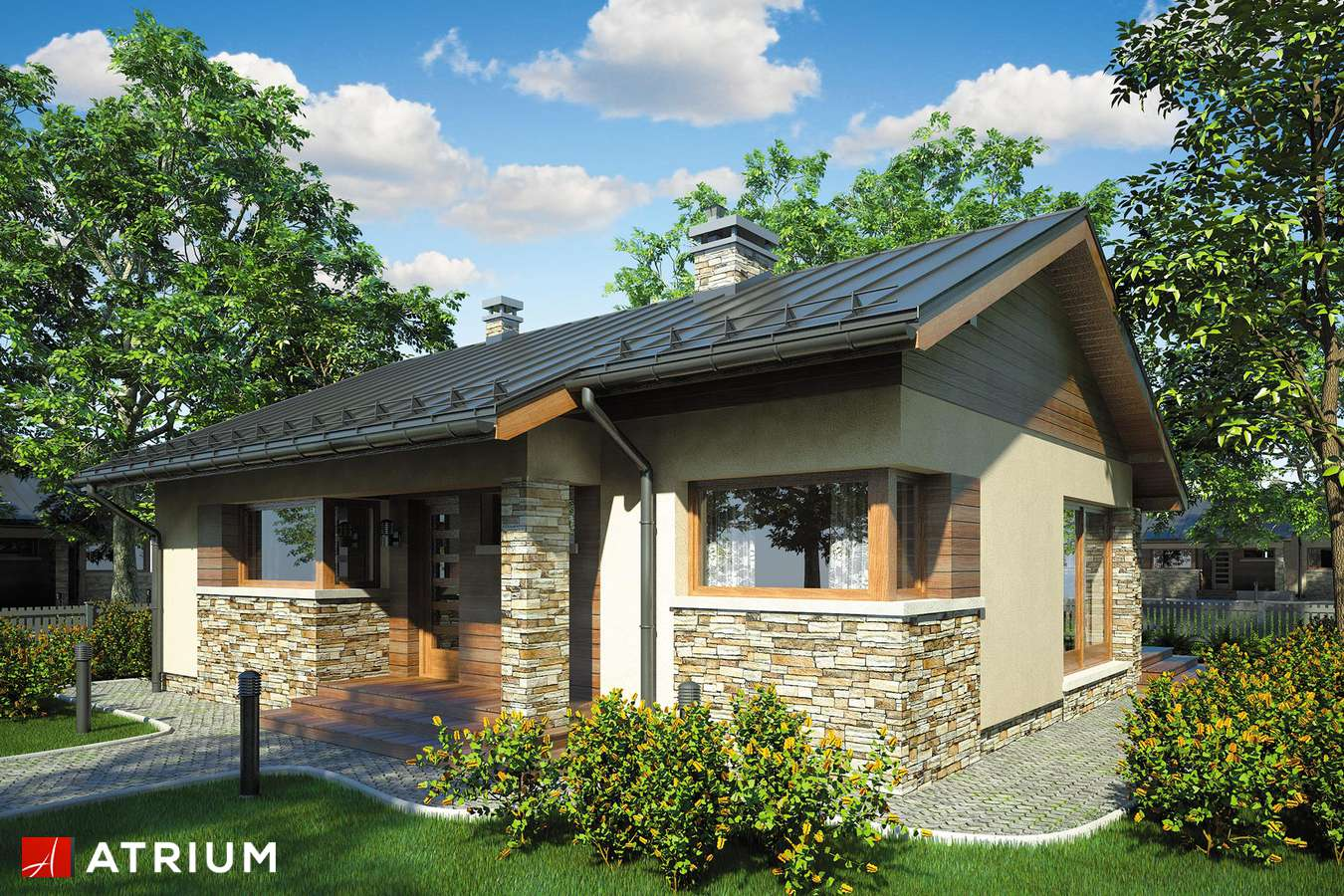 Projekty domów - Projekt domu parterowego RICARDO - wizualizacja 2