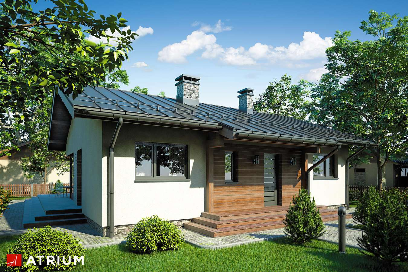 Projekty domów - Projekt domu parterowego AMBER - wizualizacja 2