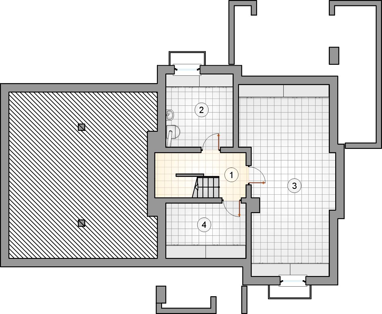 Rzut piwnicy - projekt Cynamon II