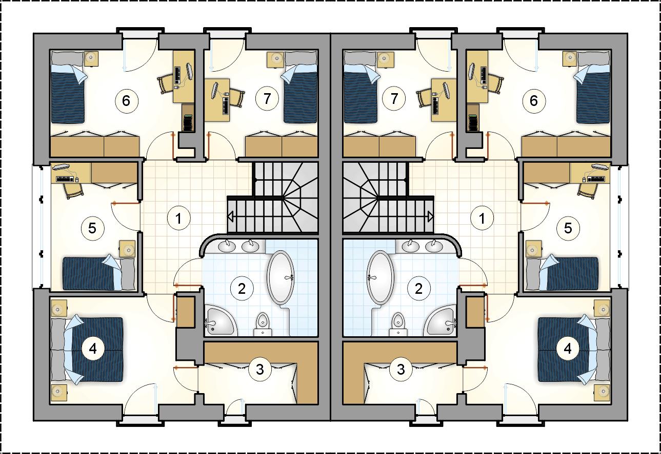 Rzut piętra - projekt Milano Duo