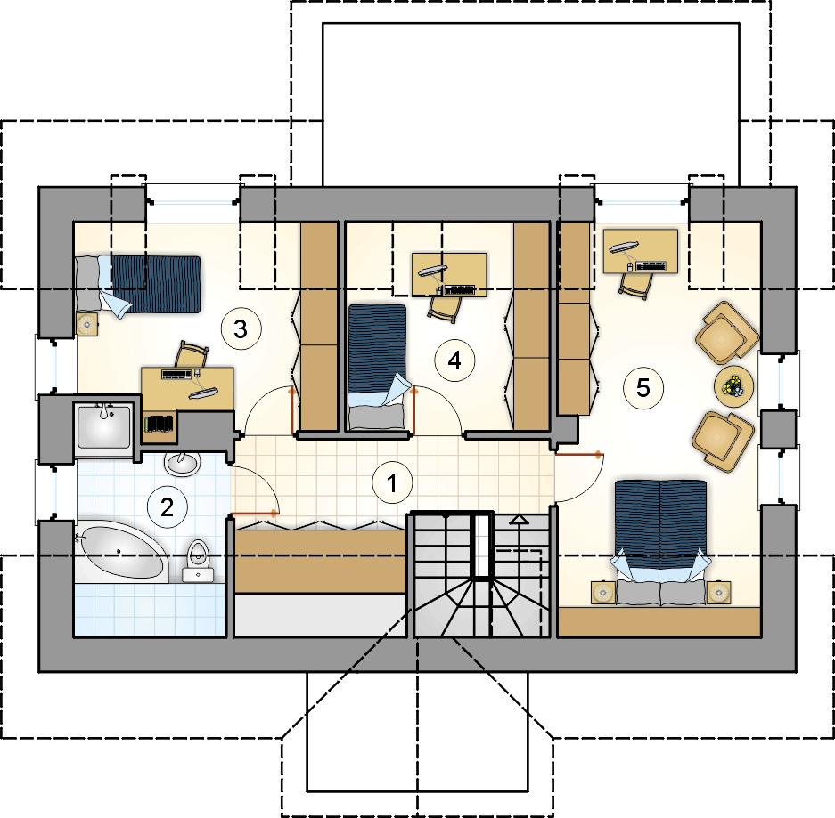 Rzut poddasza - projekt U Gazdy II - wersja lustrzana