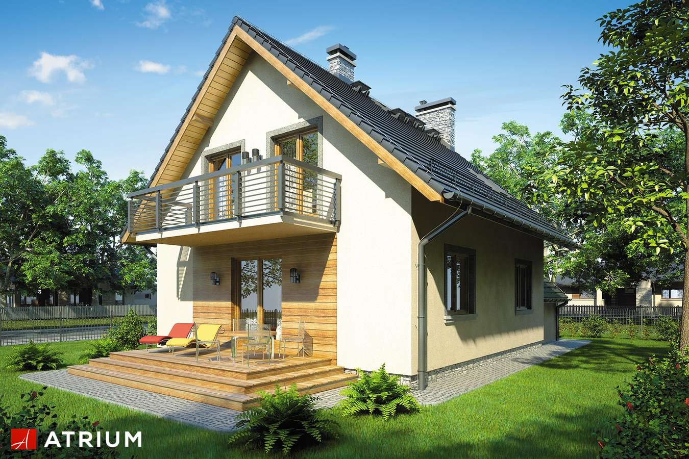 Projekty domów - Projekt domu z poddaszem OMEGA PLUS - wizualizacja 2