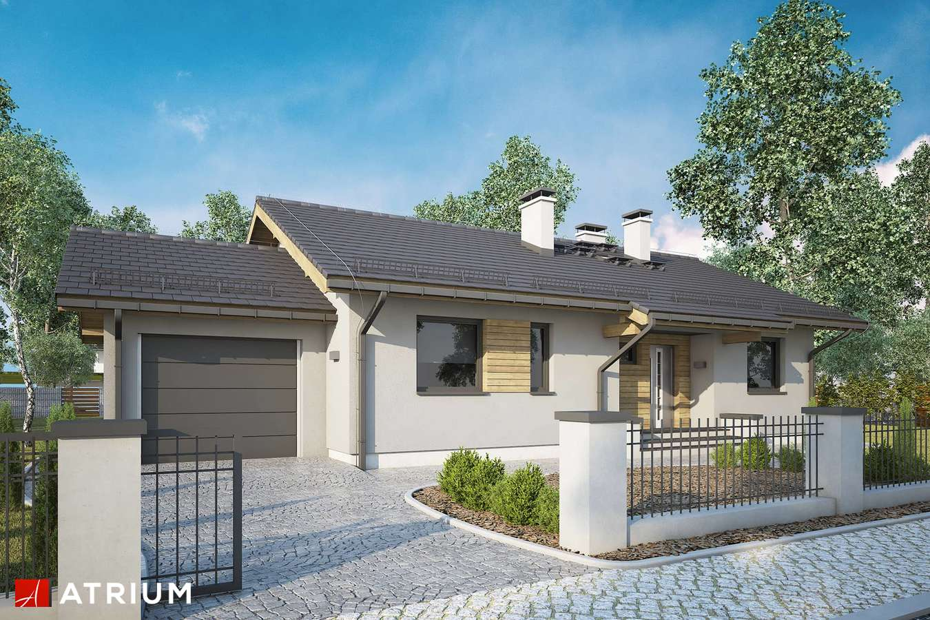 Projekty domów - Projekt domu parterowego NEO III - wizualizacja 1