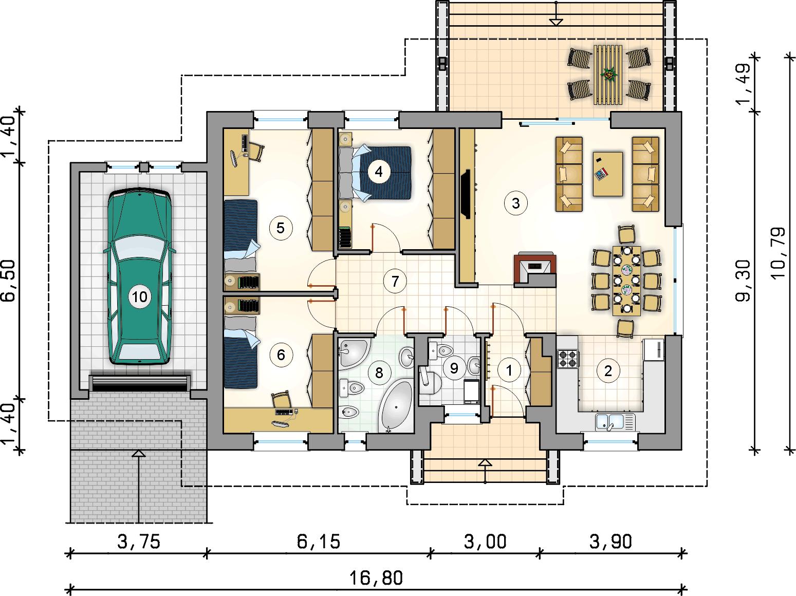 Rzut parteru - projekt Neo III