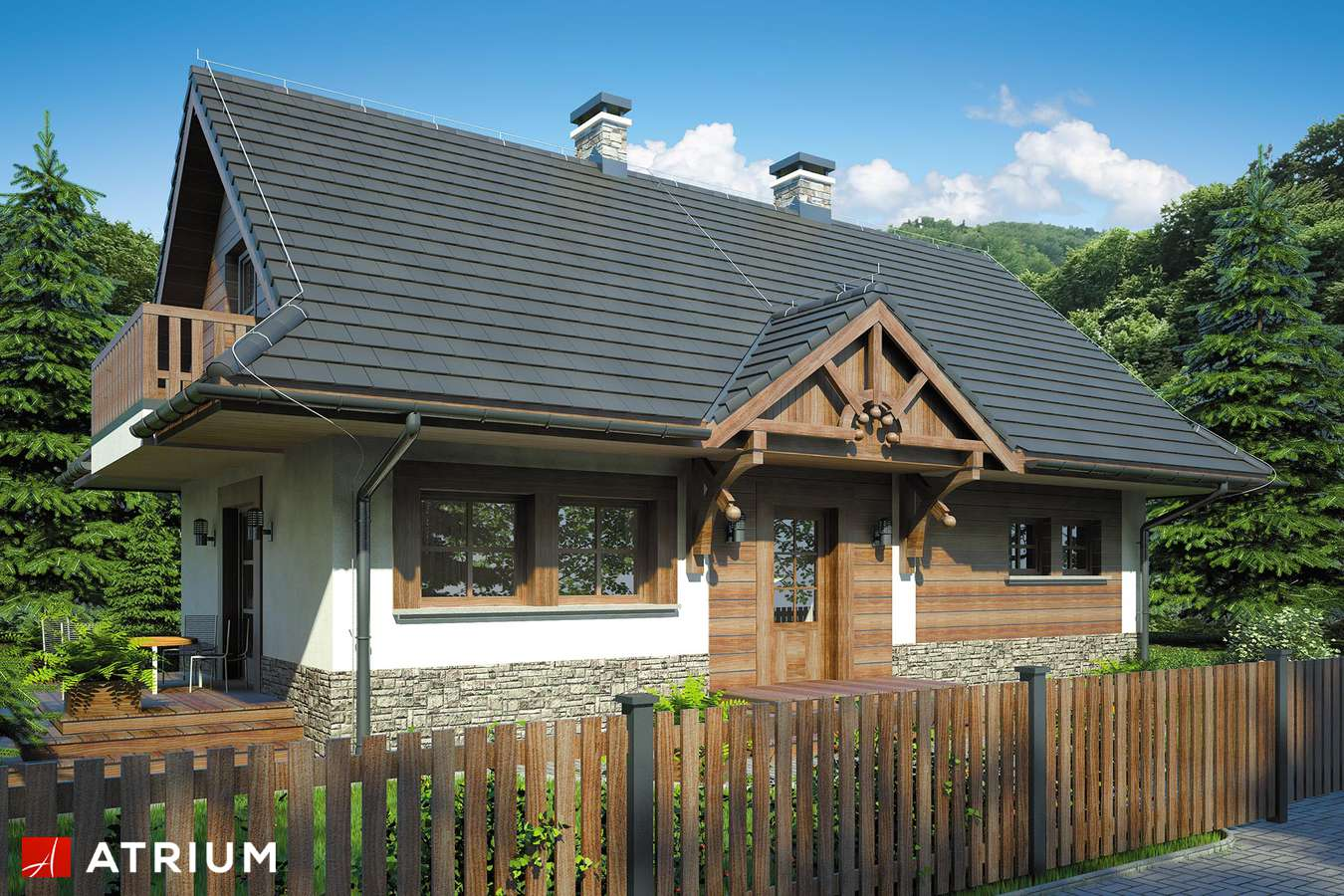 Projekty domów - Projekt domu z poddaszem KOLIBA - wizualizacja 1