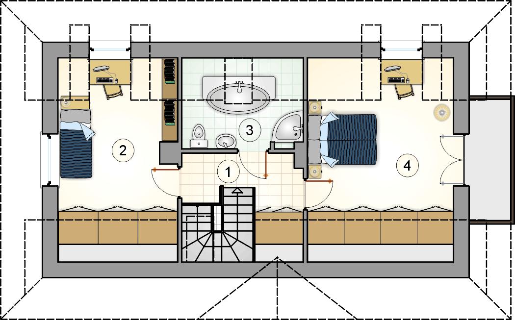 Rzut poddasza - projekt Koliba - wersja lustrzana