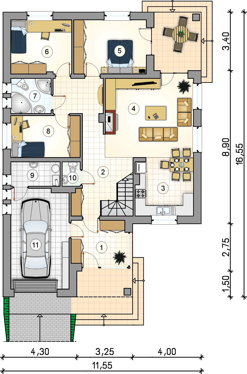 Rzut parteru - projekt Modelowy II