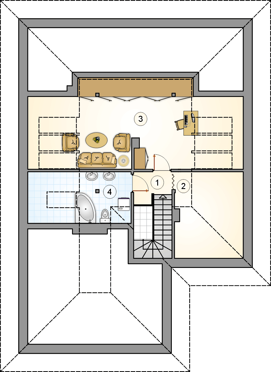 Rzut poddasza - projekt Modelowy II