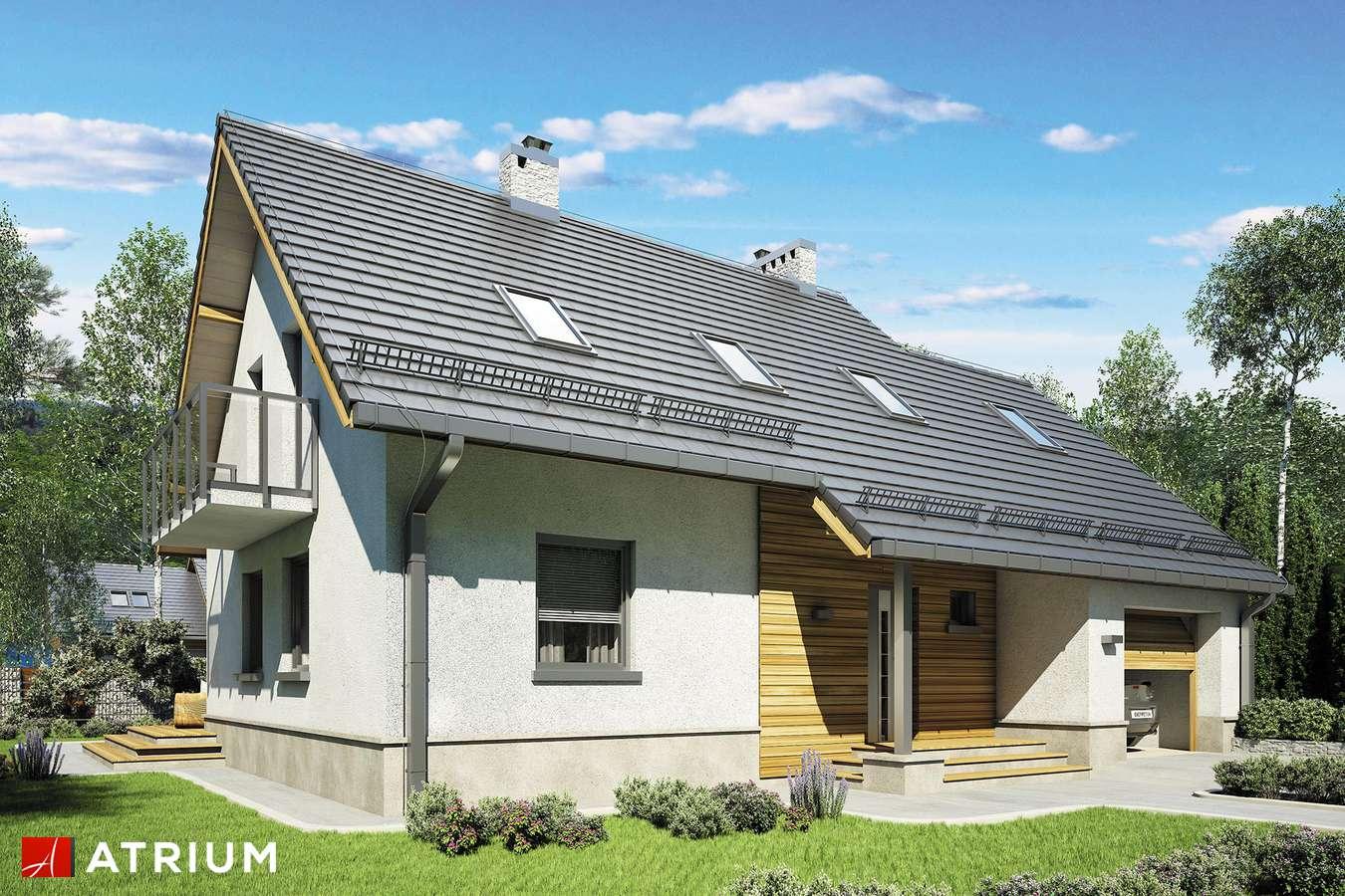 Projekty domów - Projekt domu z poddaszem ROLEKS BIS II - wizualizacja 1 - wersja lustrzana