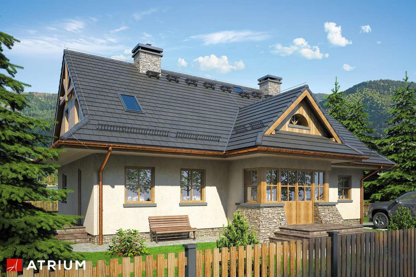 Projekty domów - Projekt domu z poddaszem POD GRAPą - wizualizacja 1 - wersja lustrzana