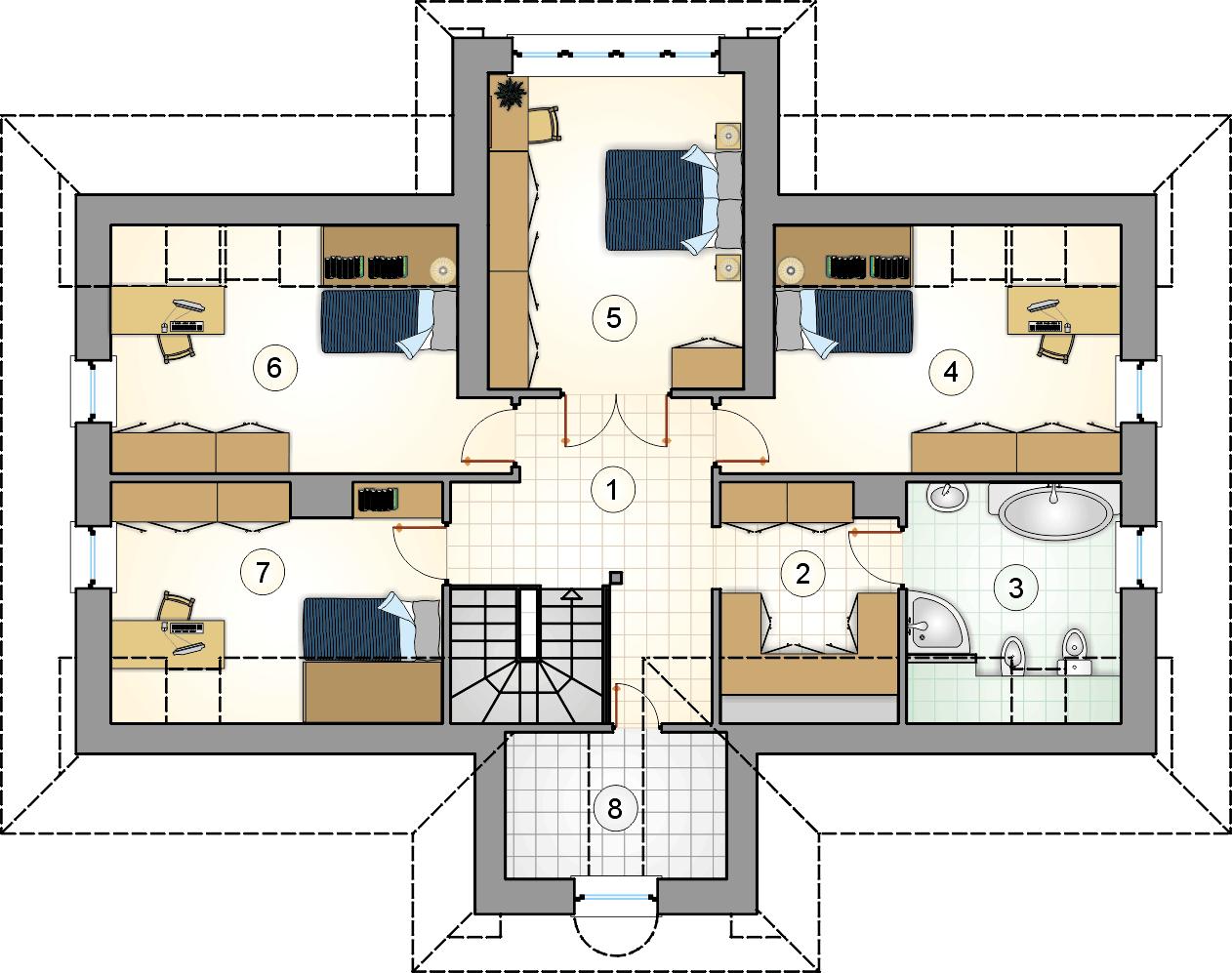 Rzut poddasza - projekt Pod Grapą - wersja lustrzana