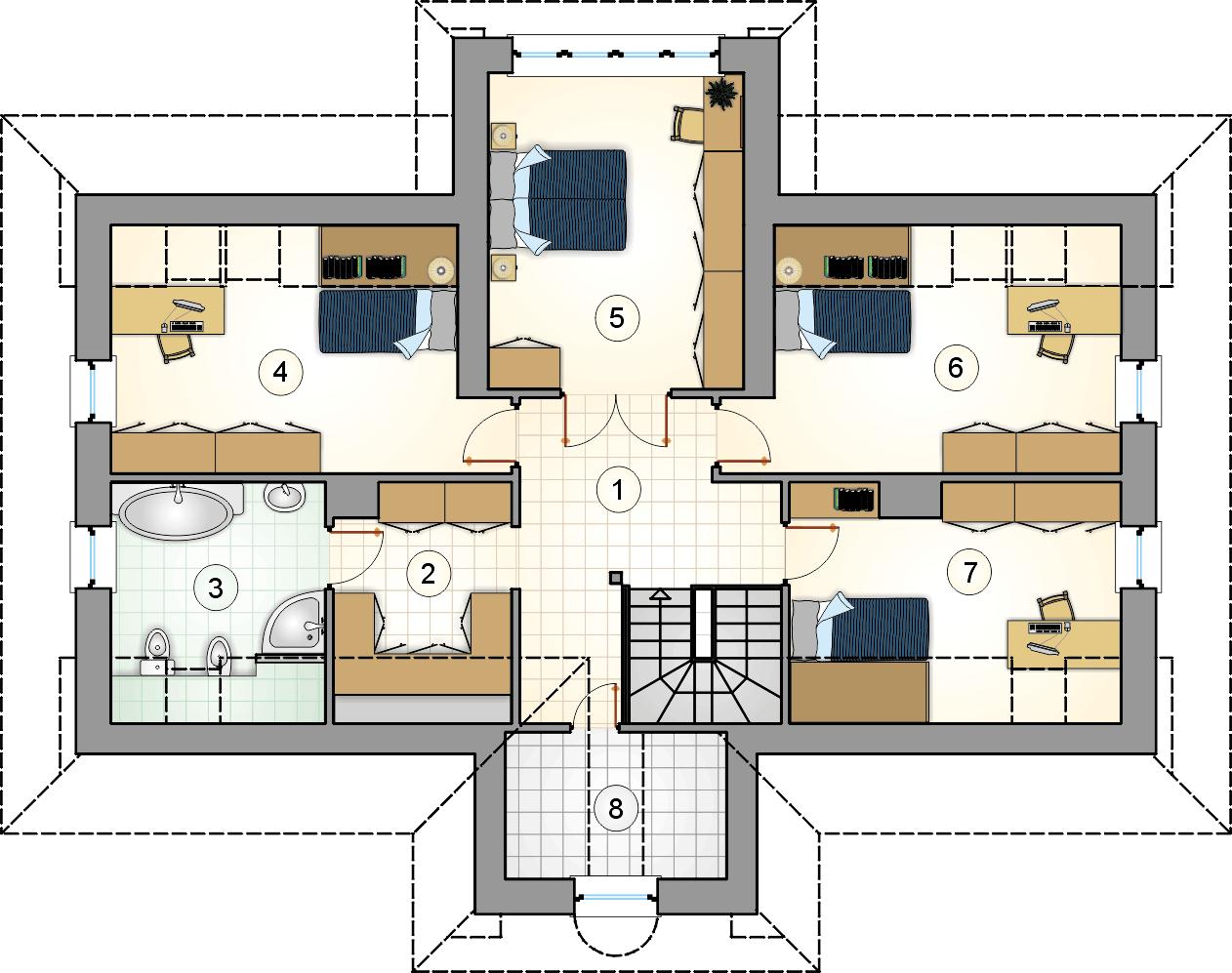 Rzut poddasza - projekt Pod Grapą