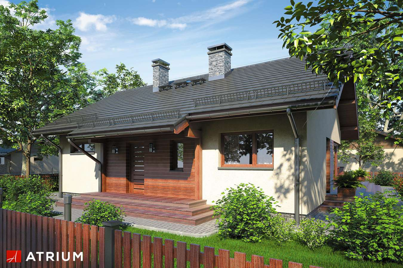 Projekty domów - Projekt domu parterowego AMBER IV - wizualizacja 1 - wersja lustrzana