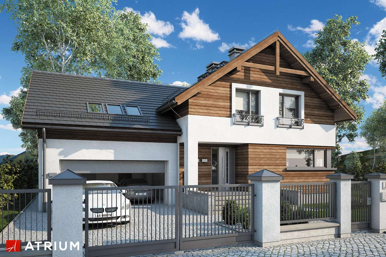 Projekty domów - Projekt domu z poddaszem JUPITER V - wizualizacja 1