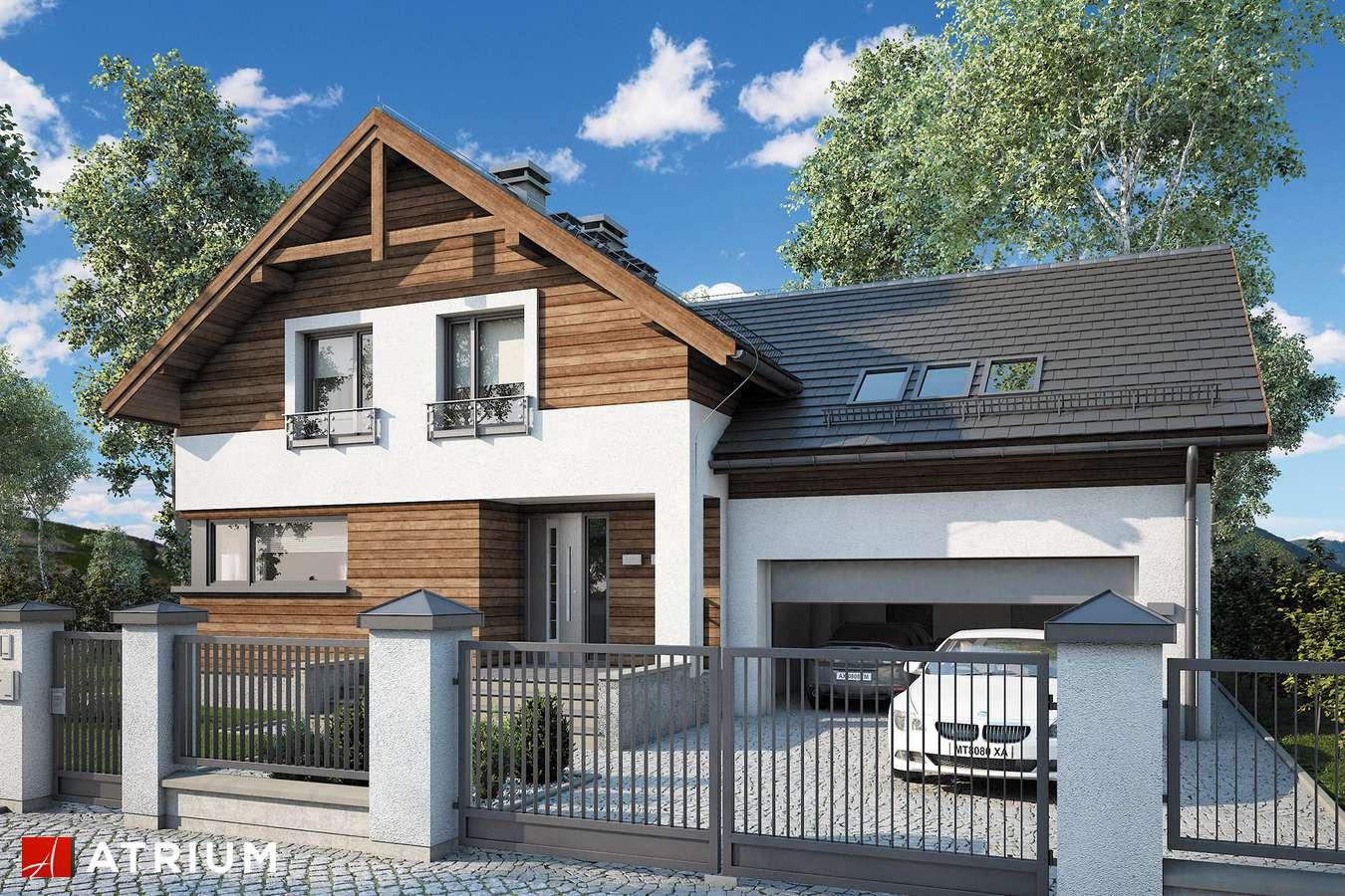 Projekty domów - Projekt domu z poddaszem JUPITER V - wizualizacja 1 - wersja lustrzana