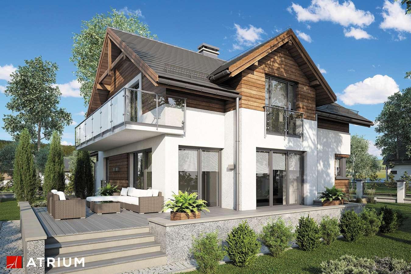 Projekty domów - Projekt domu z poddaszem JUPITER V - wizualizacja 2 - wersja lustrzana